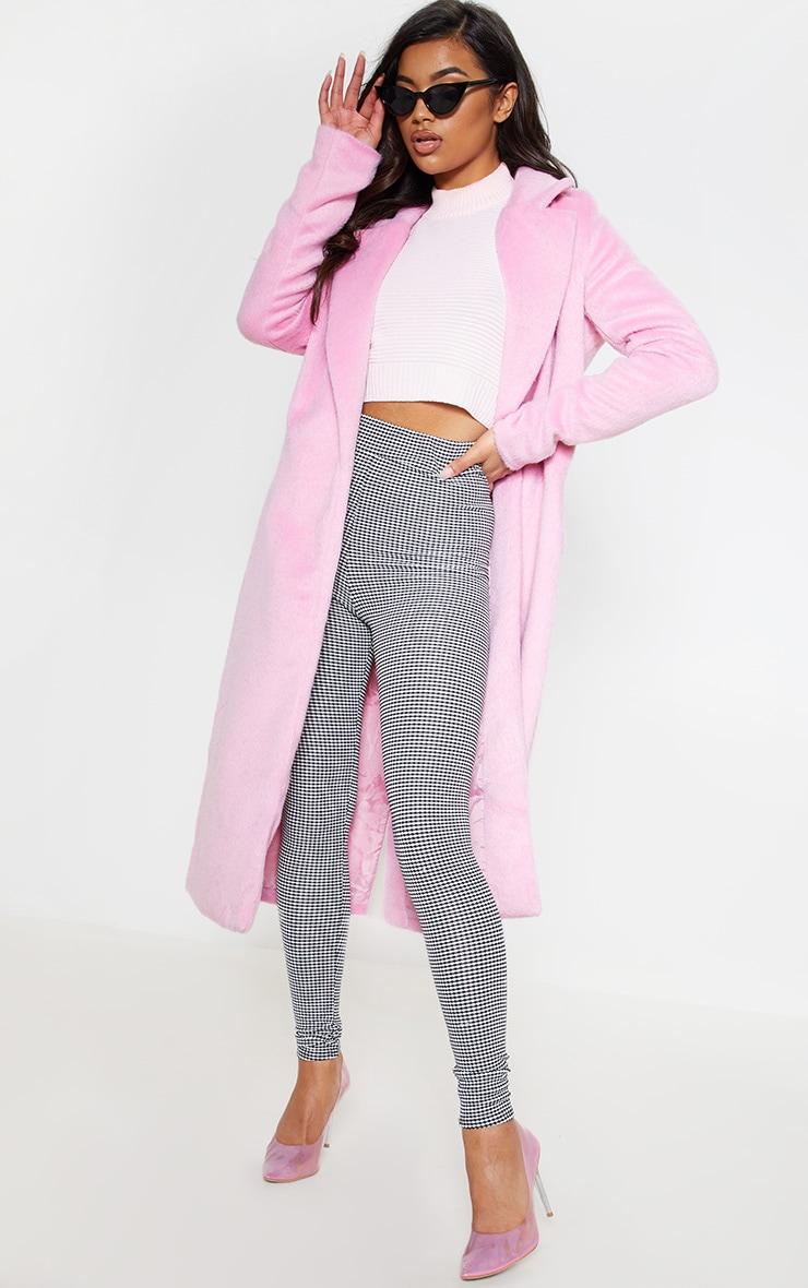 Long manteau  rose en laine 2
