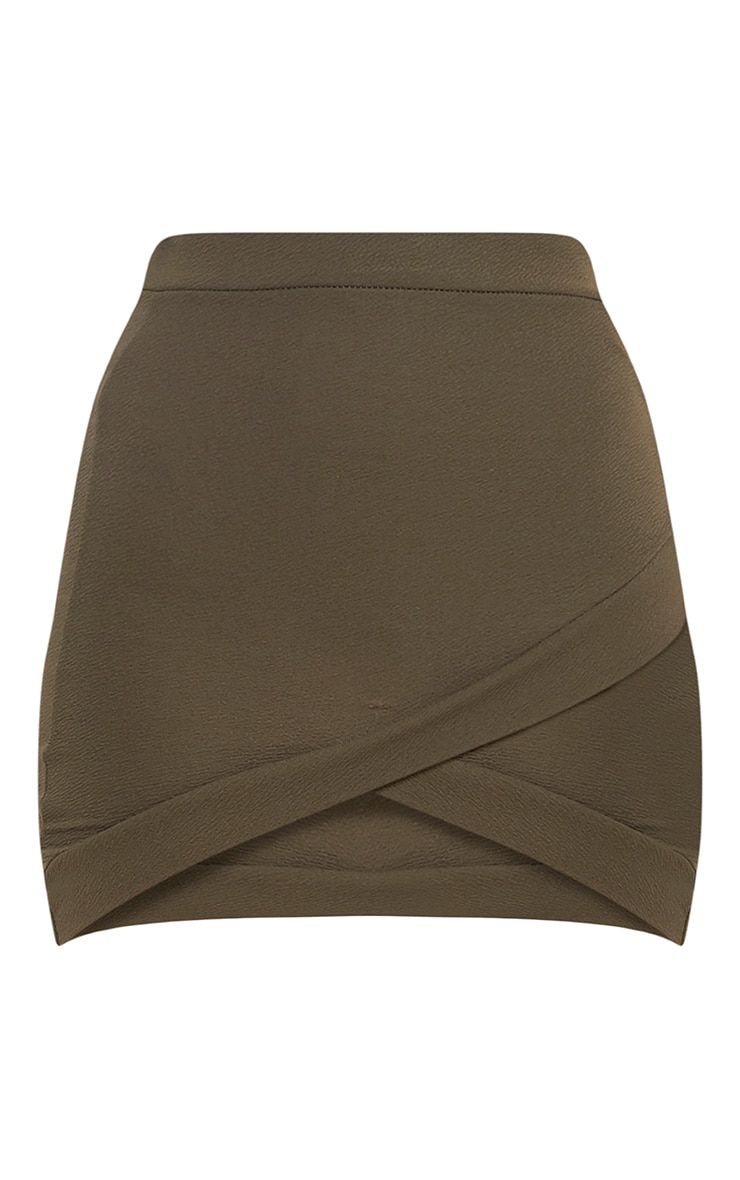 Gabriella Khaki Asymmetric Mini Skirt 3