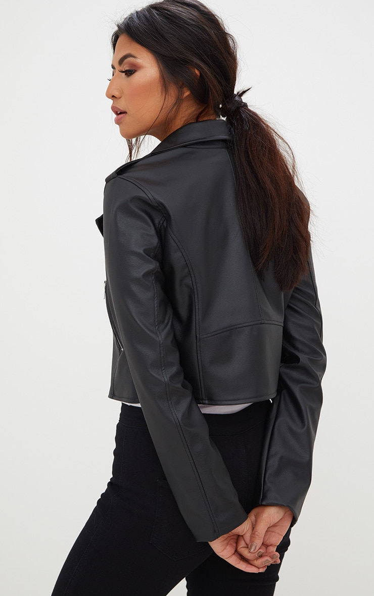 Black PU Biker Jacket With Zips  2