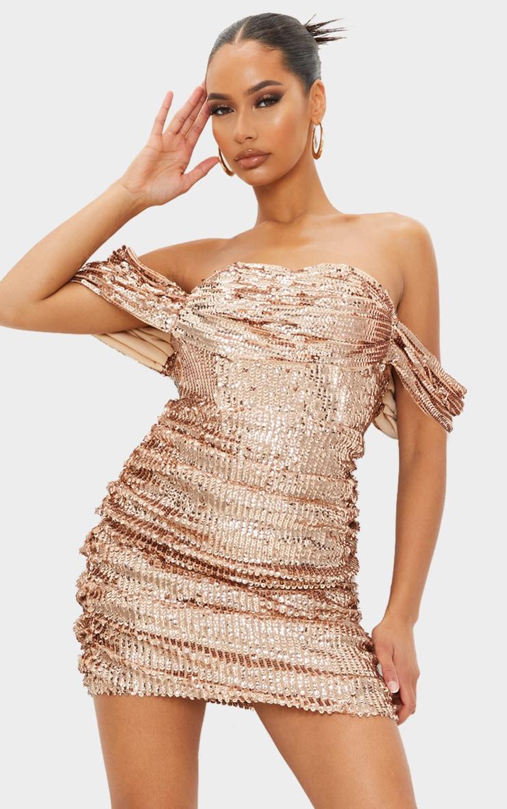 Rose Gold Sequin Bardot Bodycon Dress 3