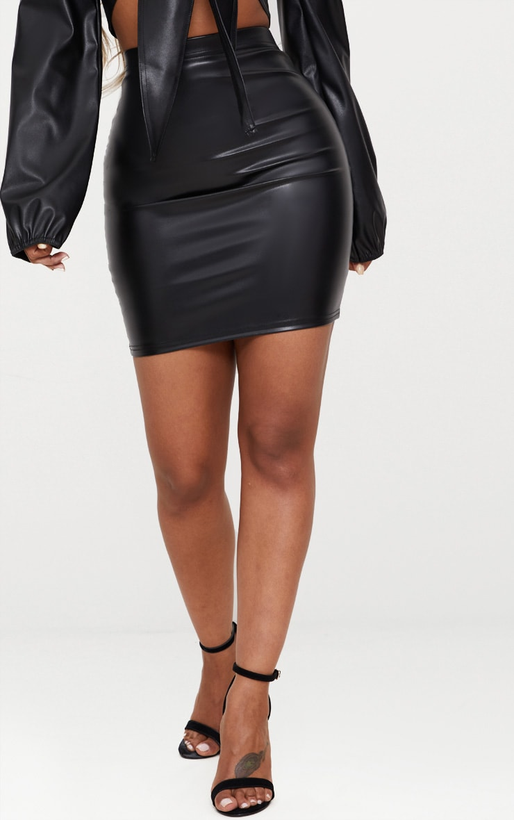 Shape Black PU Bodycon Skirt 2