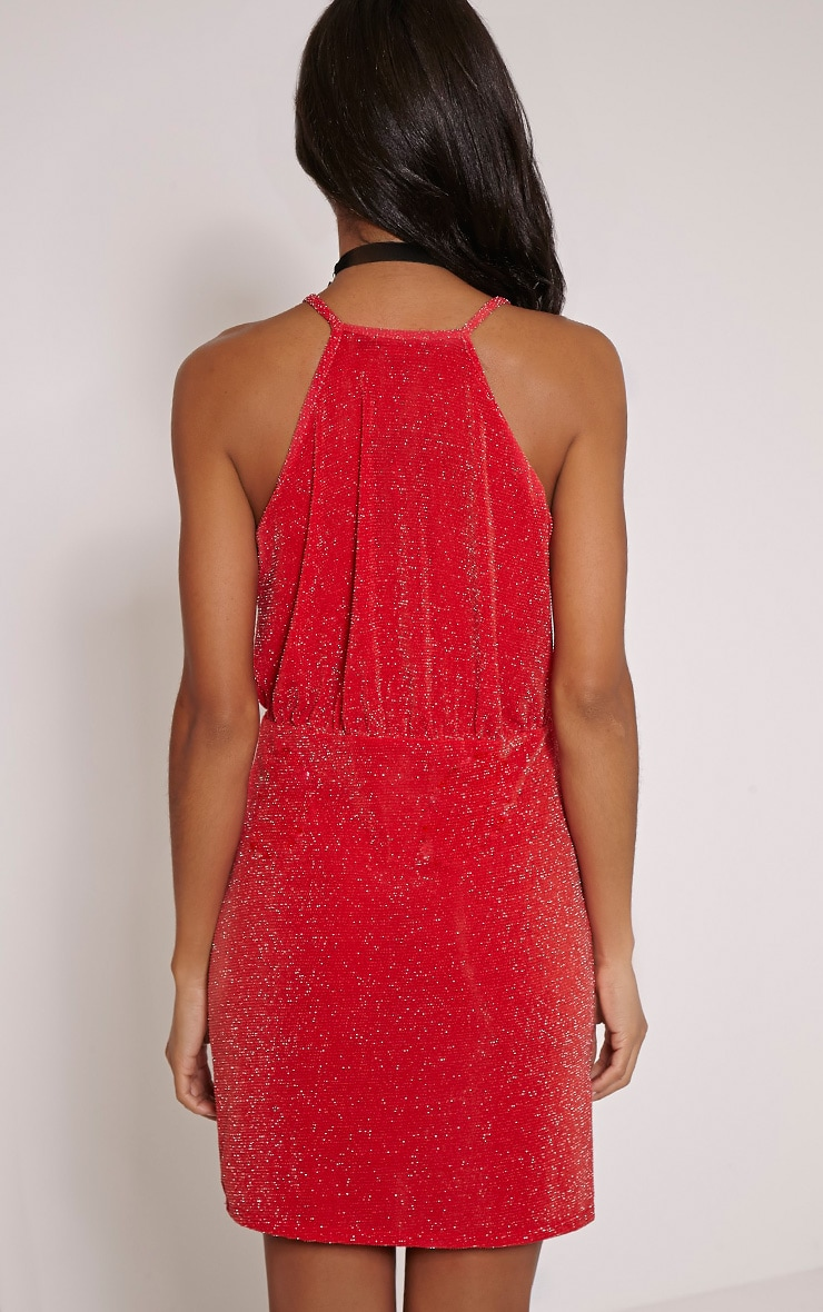 Tayah Red Wrap Front Glitter Bodycon Dress 2