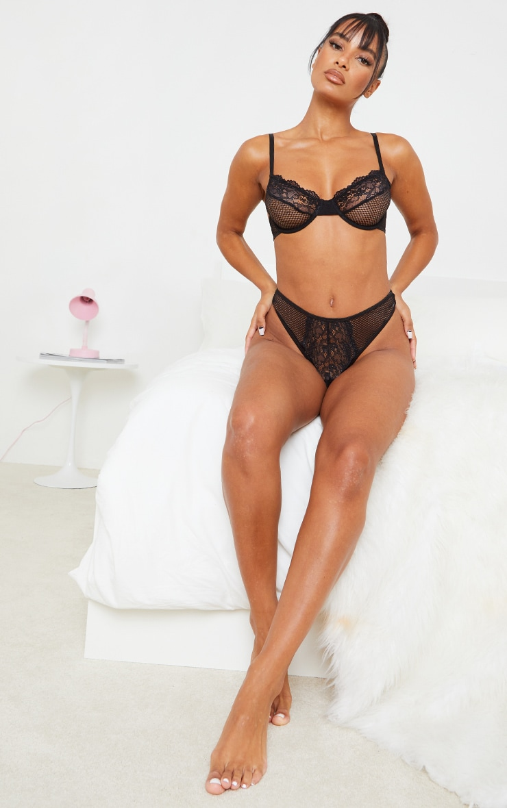 Black Lace Front Panel Fishnet Thong 4