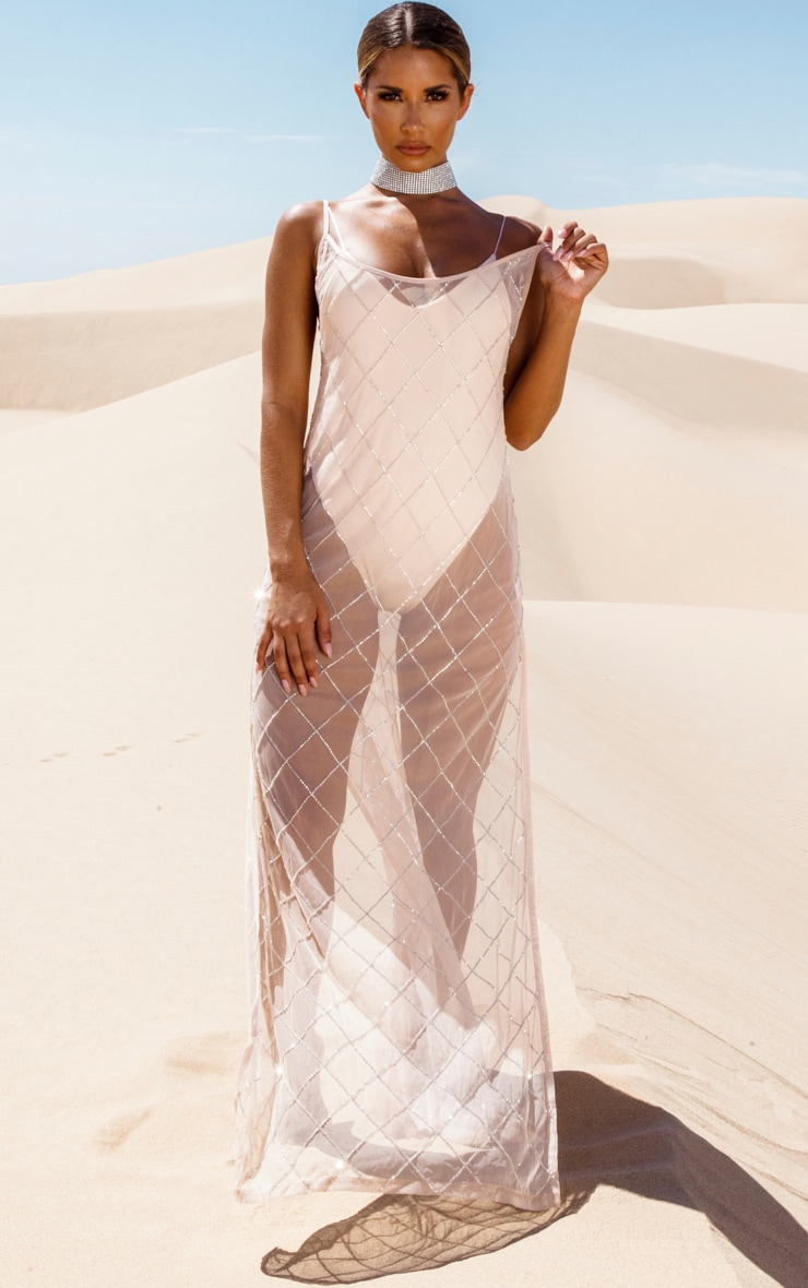 Nude Beaded Grid Beach Dress
