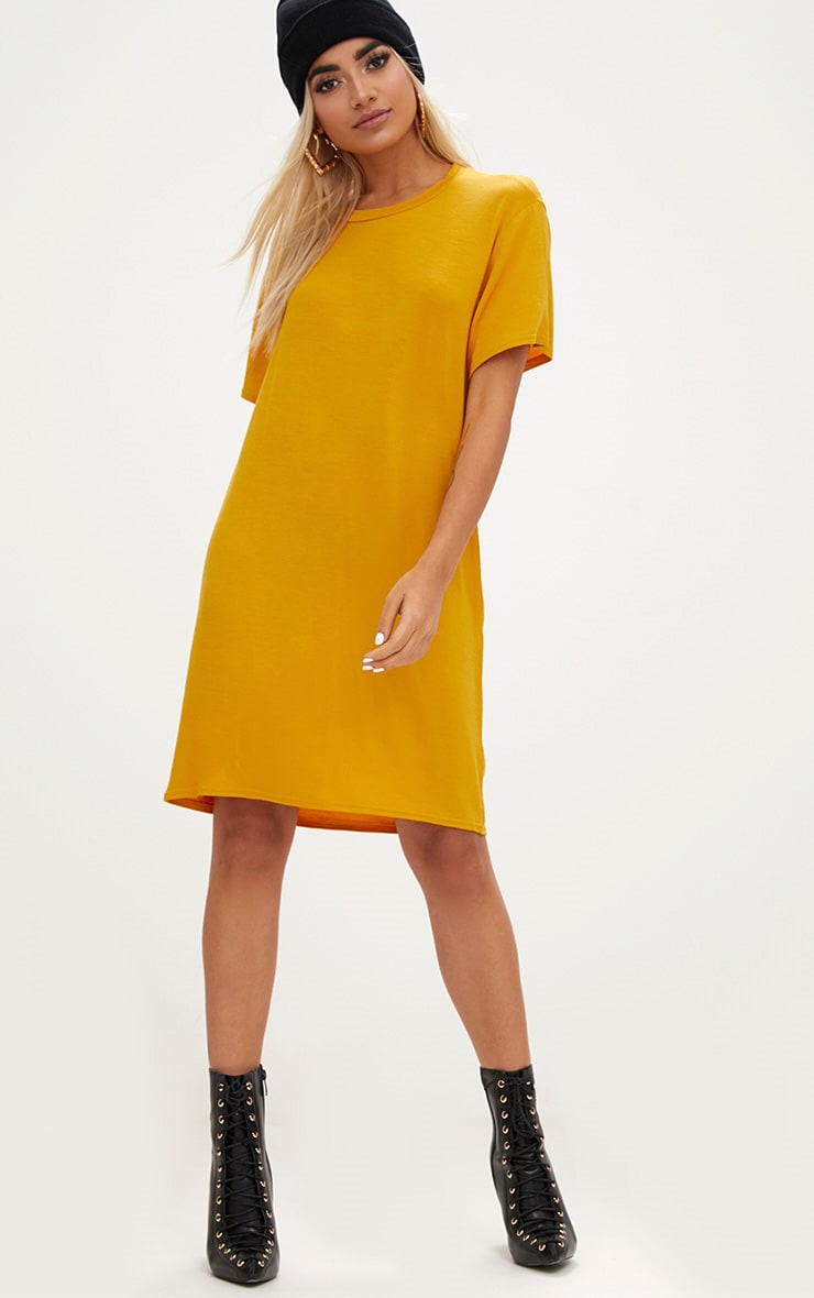 Basic Mustard Short Sleeve Tshirt Dress 4
