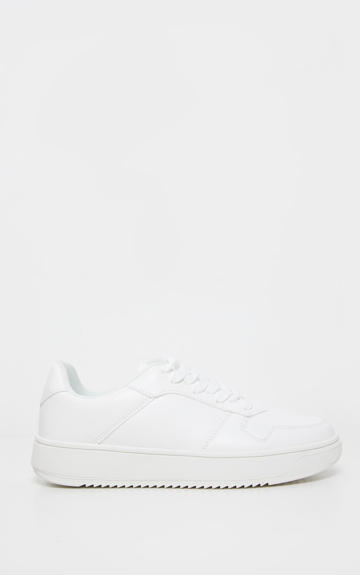 White Lace Up Flatform Sneakers 4