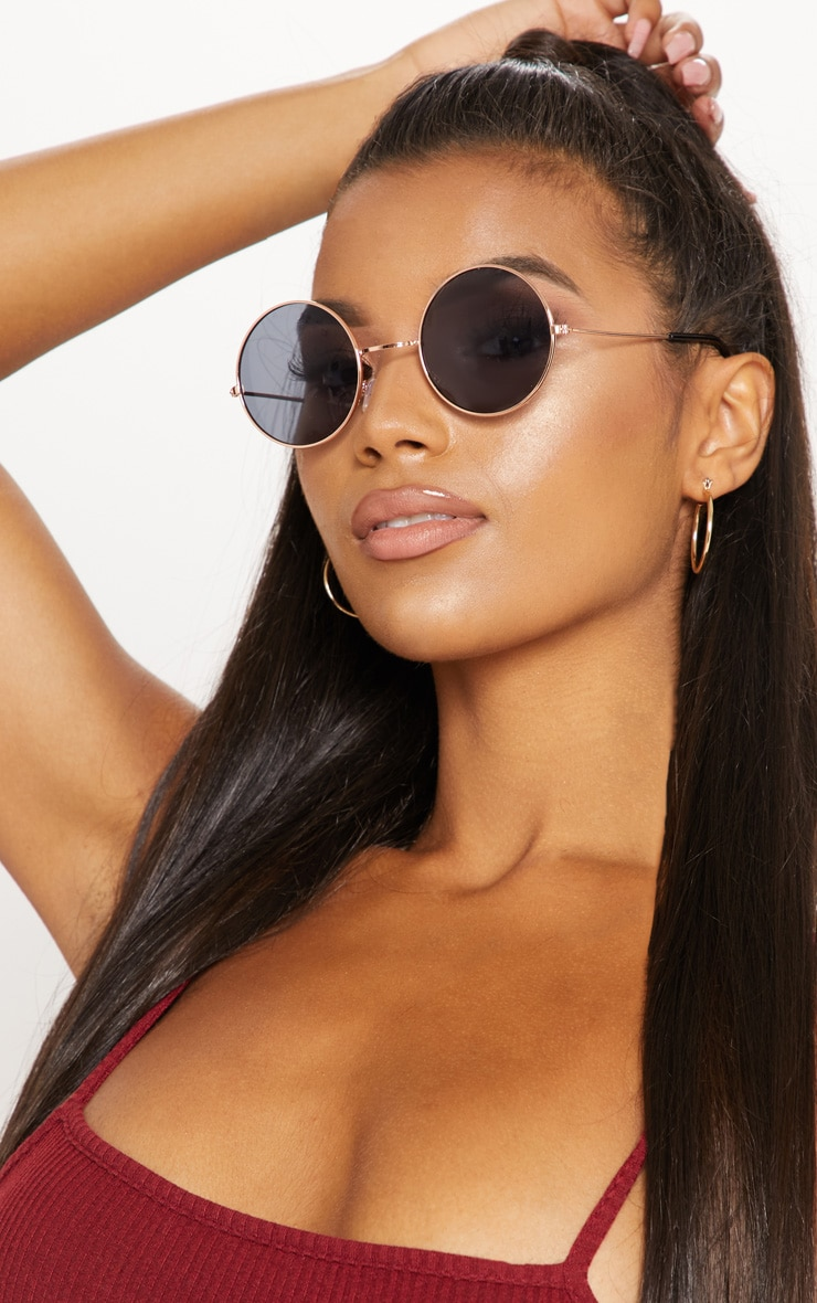 Gold Small Round Sunglasses 1