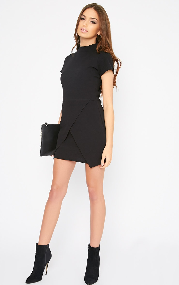 Kati Black Crepe Turtle Neck Wrap Front Mini Dress 3