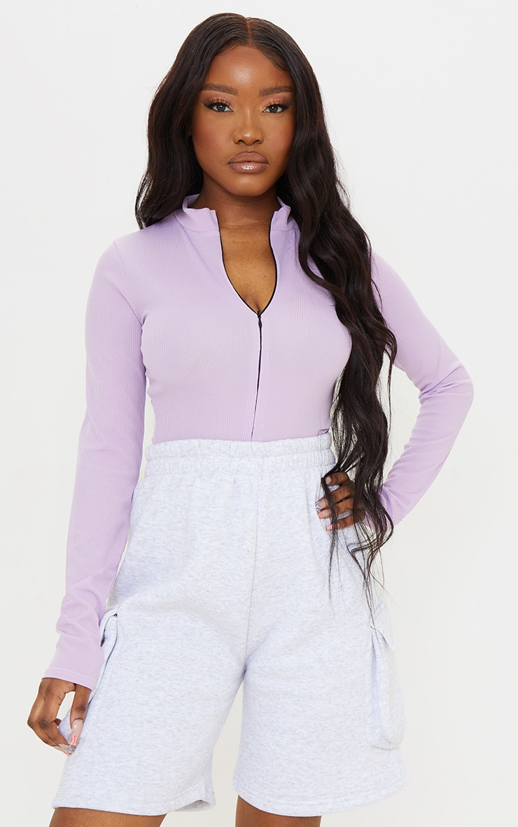 Lilac  Rib Zip Up Long Sleeve Bodysuit 1
