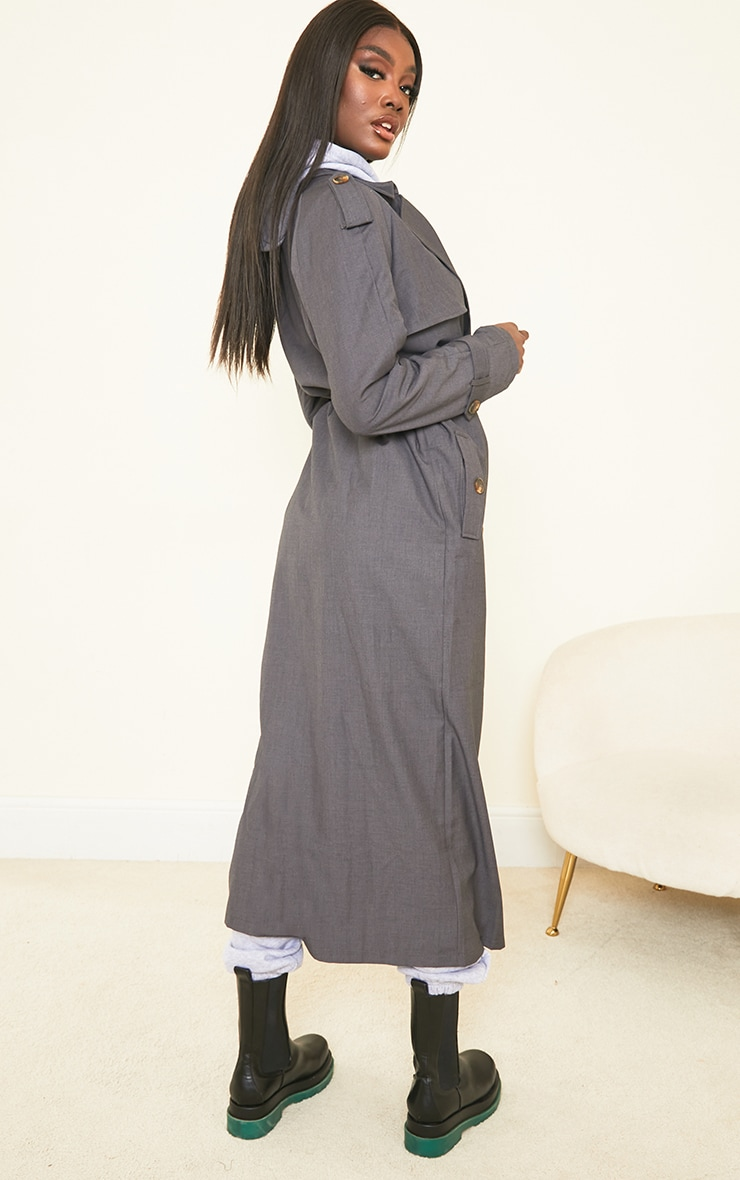 Tall Grey Oversized Trench 2