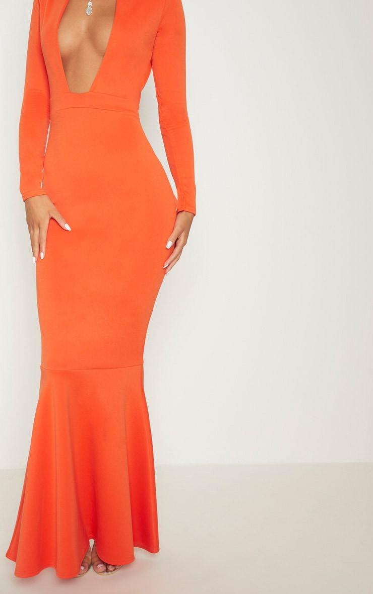 Bright Orange High Collar Detail Plunge Fishtail Maxi Dress 5