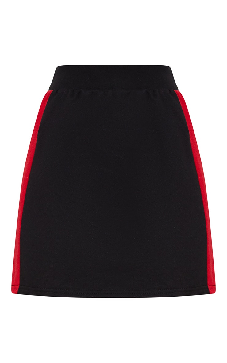 Black Contrast Side Panel Sweat Mini Skirt  3