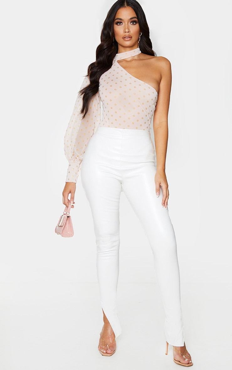 Pink Mesh Polka Dot One Shoulder High Neck Bodysuit 3