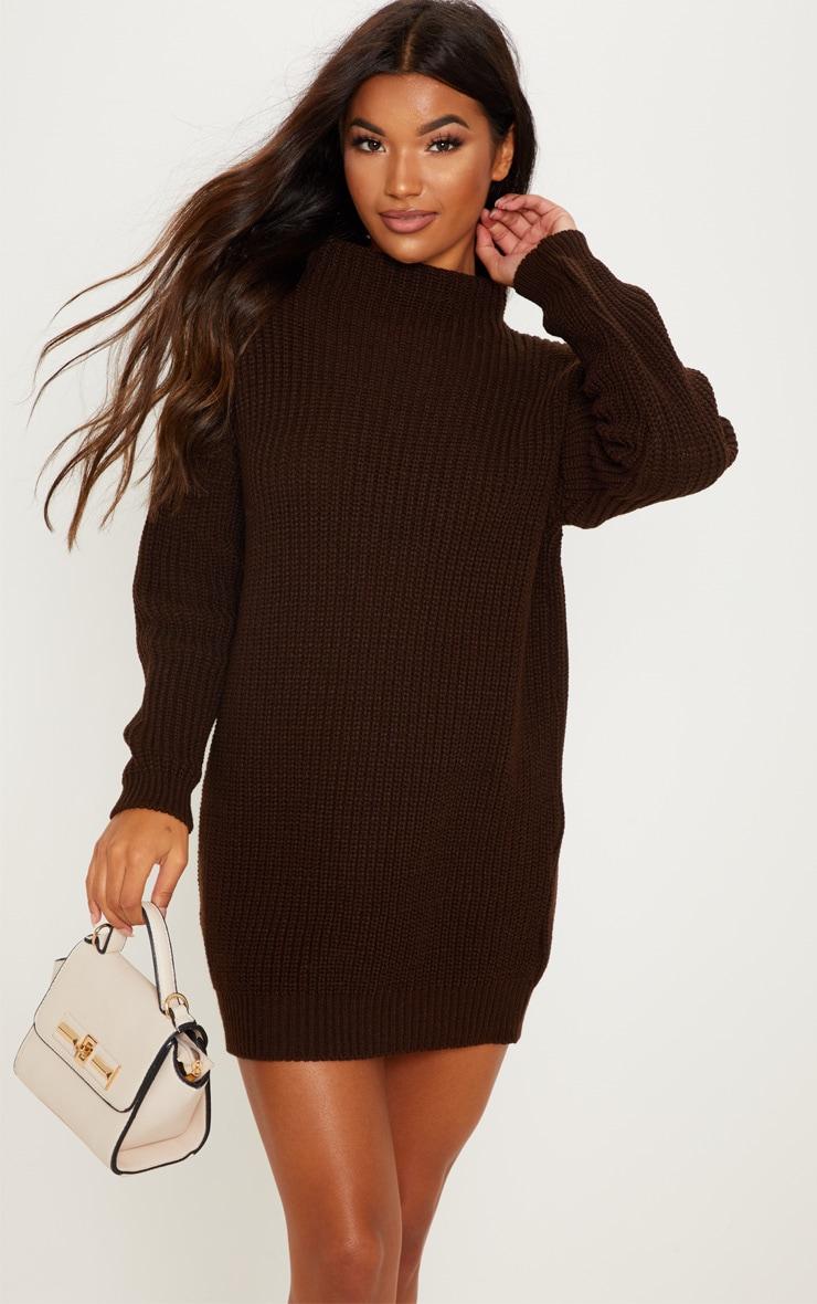 Chocolate Oversized Knit Dress  4