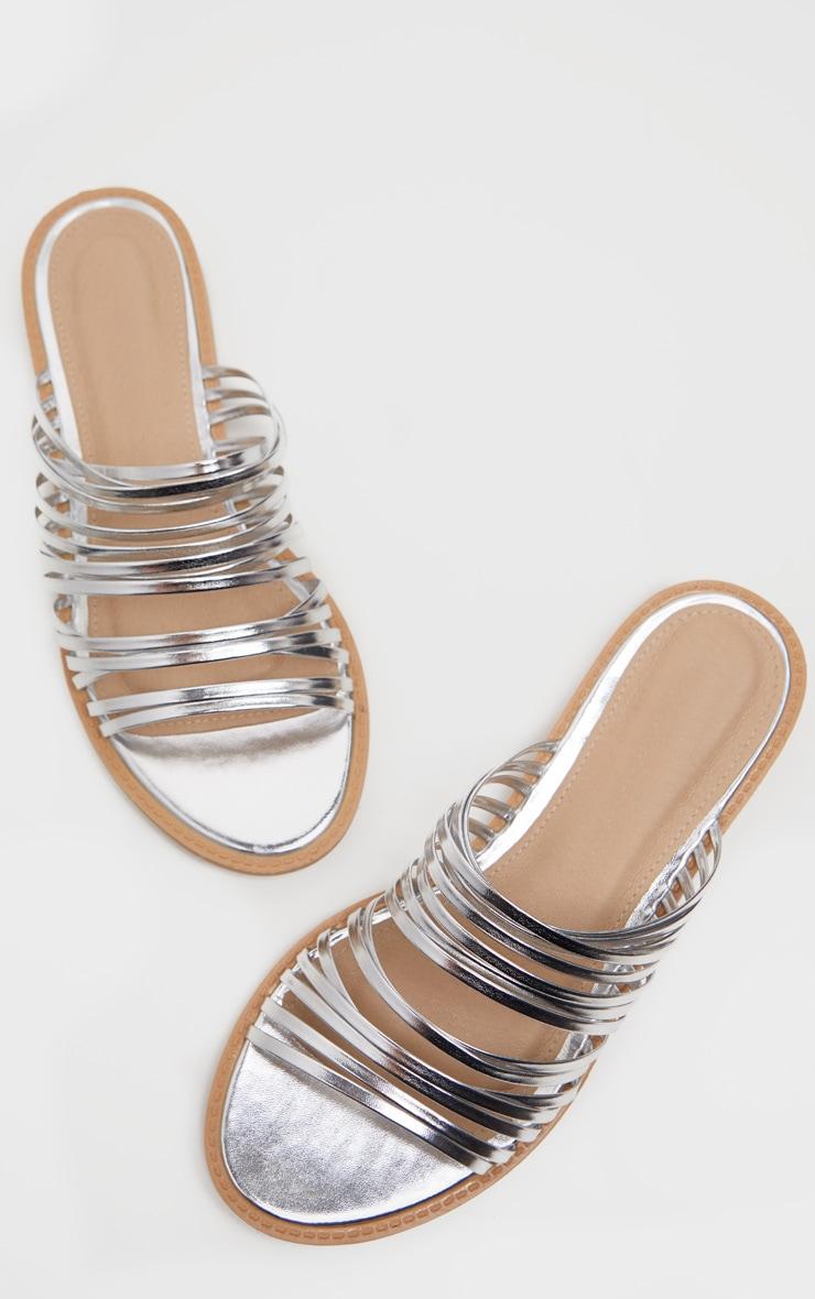 Silver Strappy Mule Flat Sandal 4