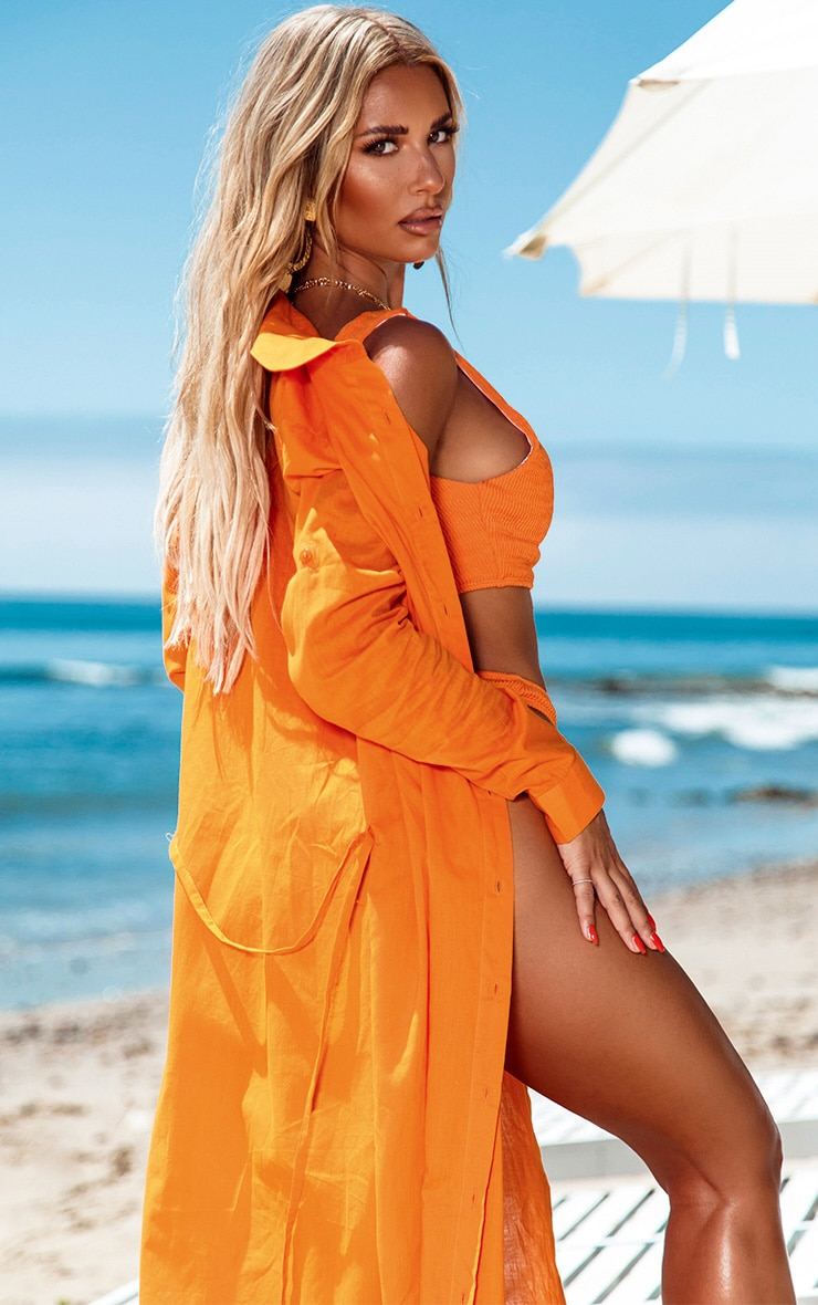 Robe de plage longue en coton orange  2