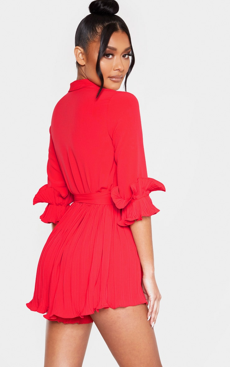 Red Frill Detail Pleated Romper 2