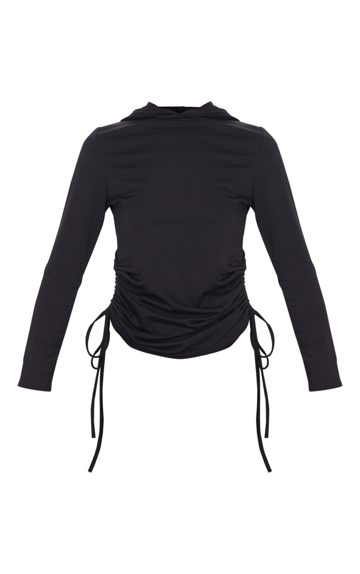 Black Oversized Ruched Side Top 4