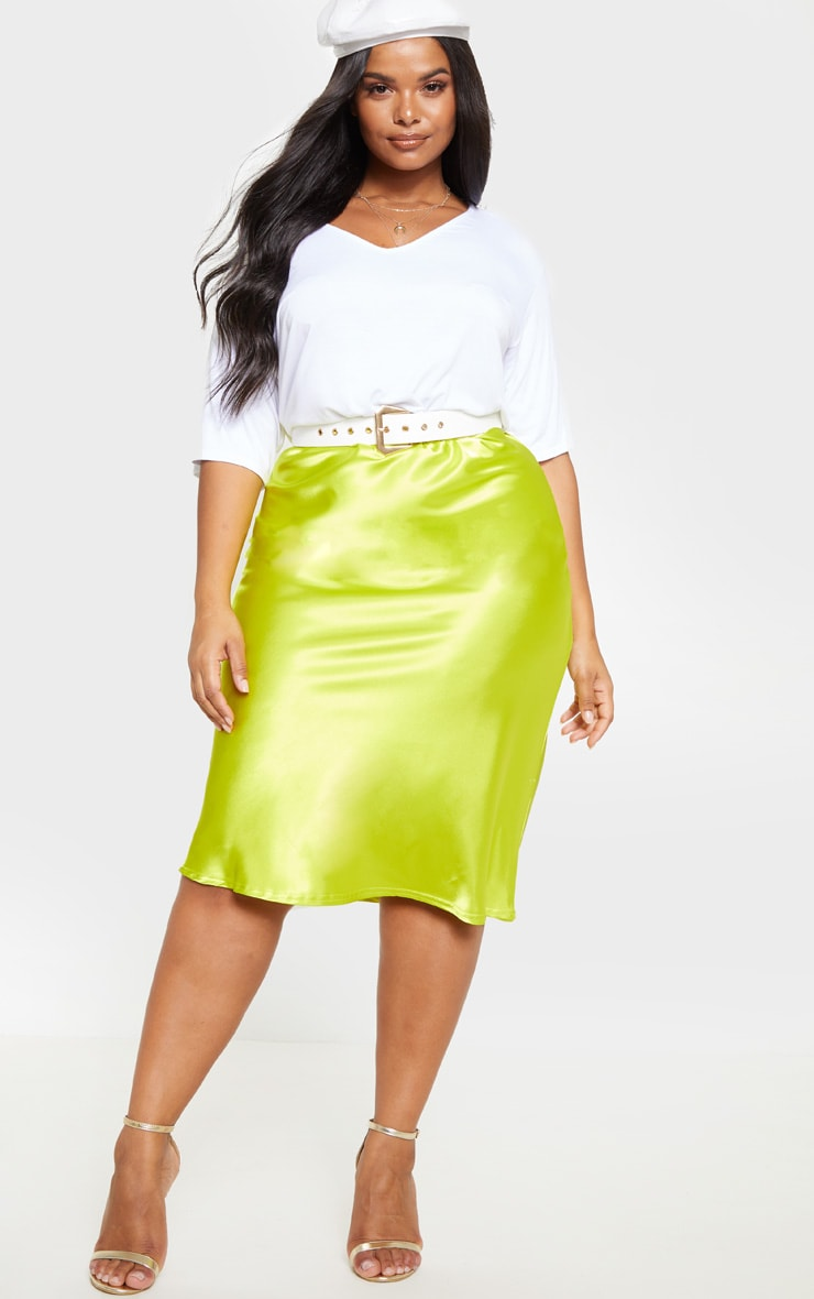 Plus Neon Lime Satin Midi Skirt 1
