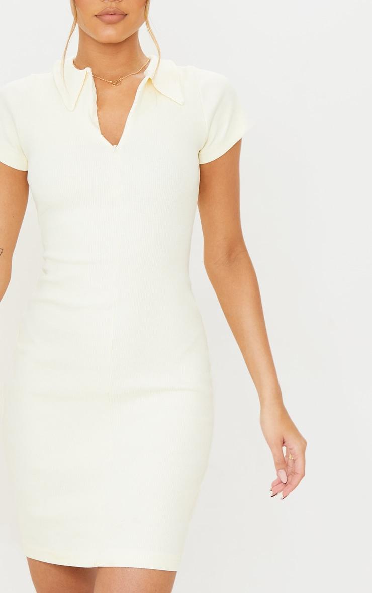 Cream Thick Rib Zip Up Polo Collar Bodycon Dress 5