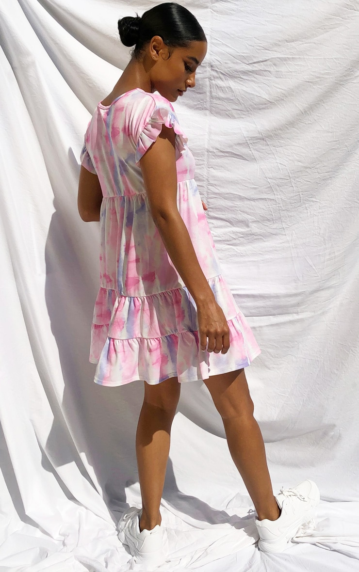 Purple Tie Dye Frill Sleeve Smock Dress 2