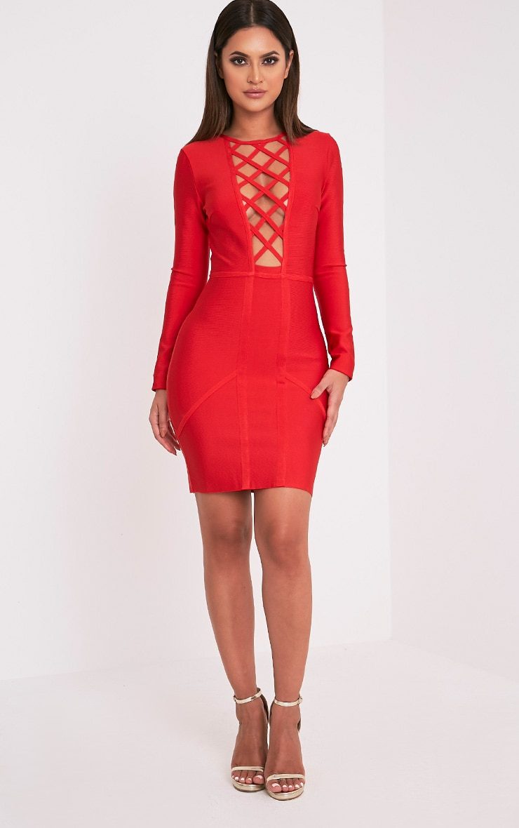 Livia Red Lattice Bandage Bodycon Dress 5