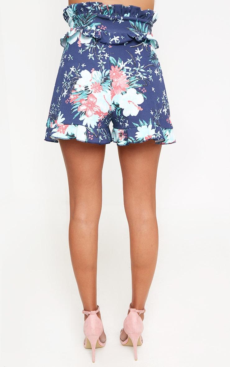 Navy Floral Frill Waist Shorts 4