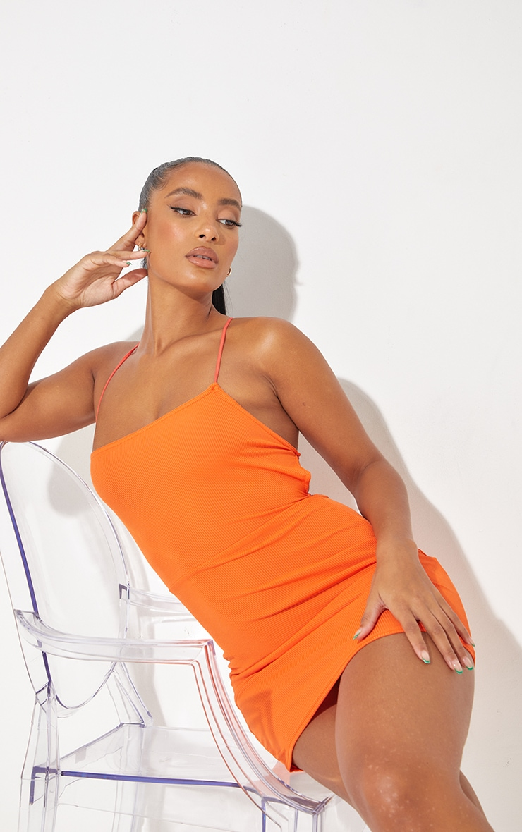 Orange Ribbed Lace Up Back Bodycon Dress 2