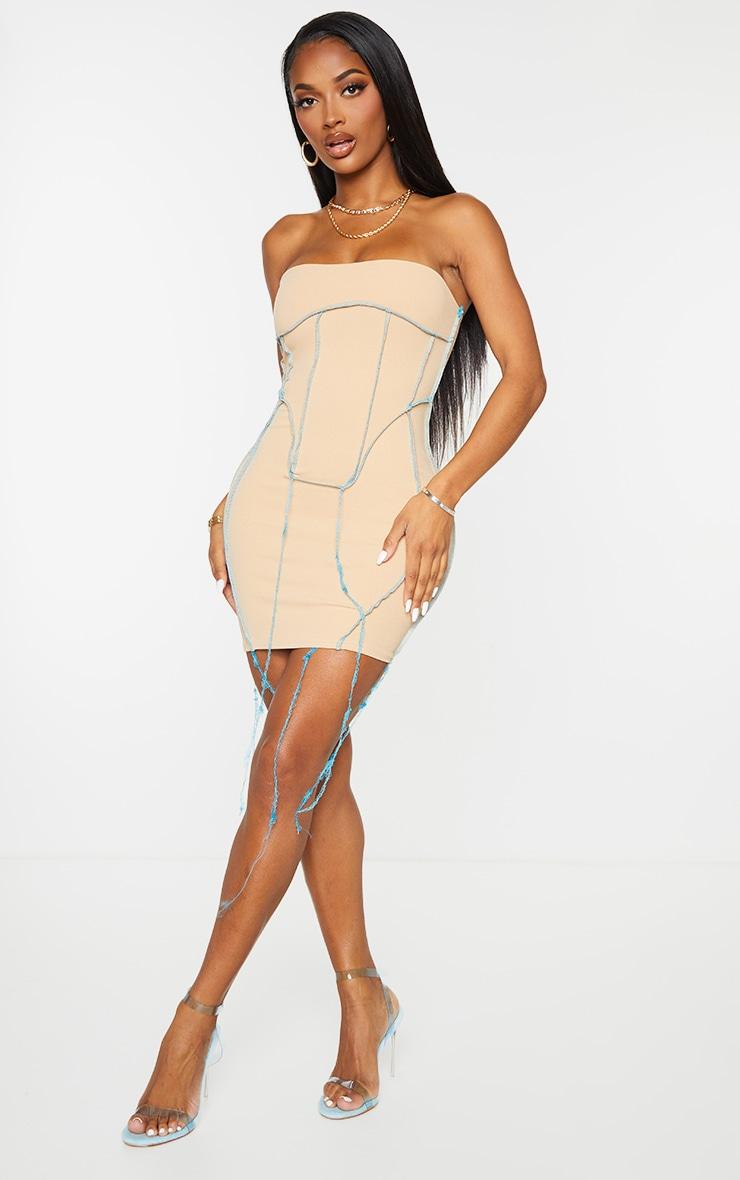 Shape Stone Overlock Seam Corset Detail Bodycon Dress 4