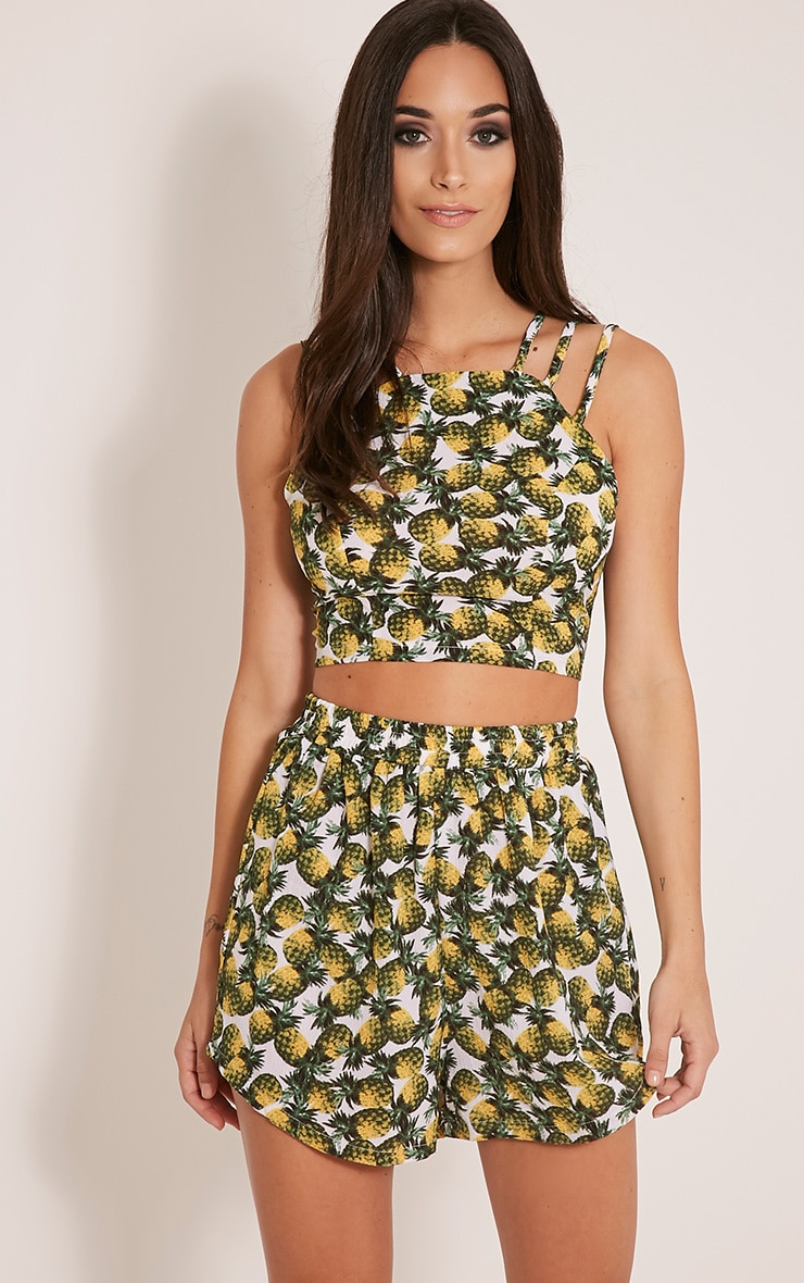 Siana White Pineapple Print Shorts 1