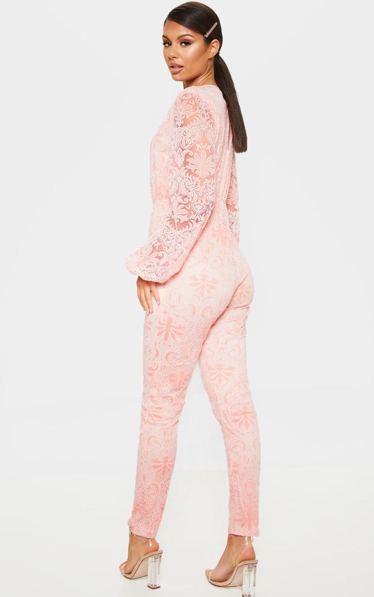 Dusty Pink Sheer Paisley Long Sleeve Jumpsuit 2