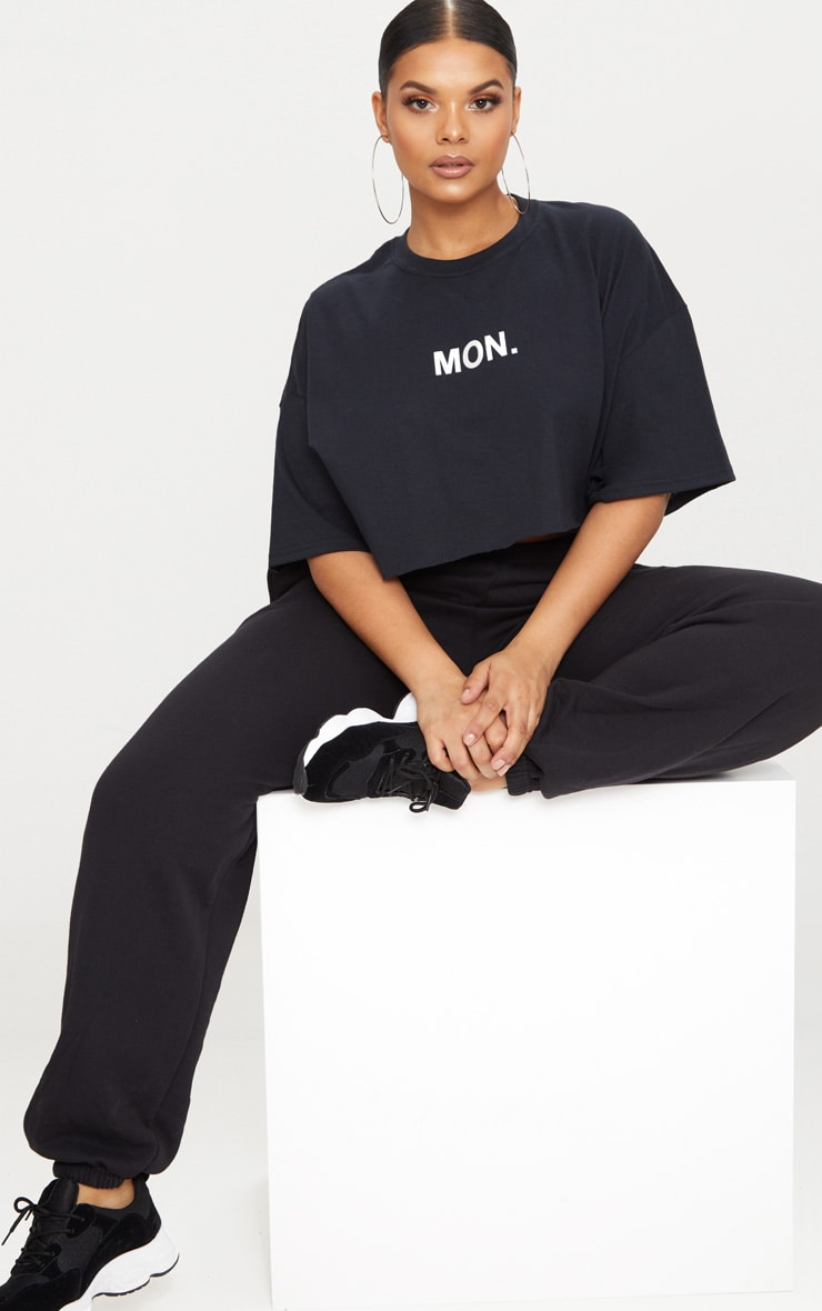 Plus Black MON Slogan Cropped T Shirt 4