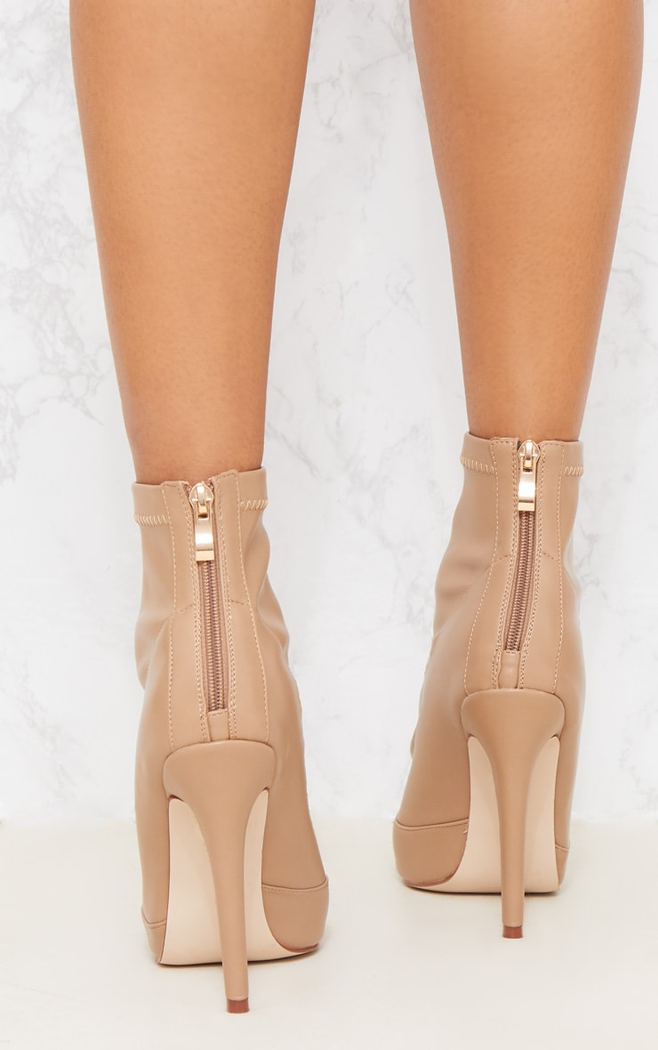 Warm Beige PU Pointed Ankle Sock Boot 6