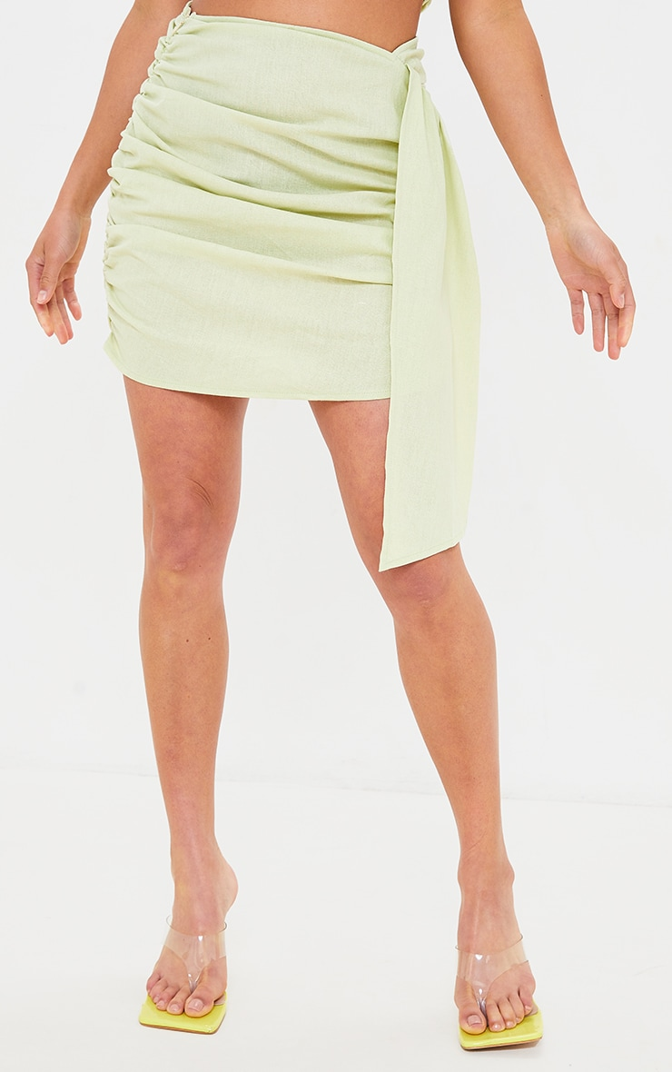 Petite Sage Green Linen Feel Ruched Side Bodycon Skirt 2