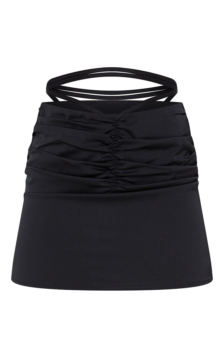 Black Ruched Front Tie Waist Mini Skirt 6