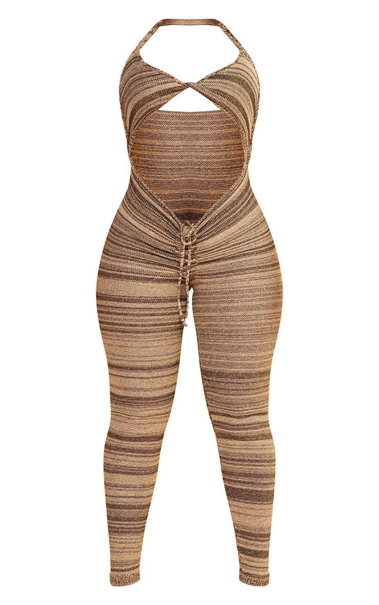 Shape Chocolate Brown Knitted Halterneck Ruched Front Jumpsuit 5