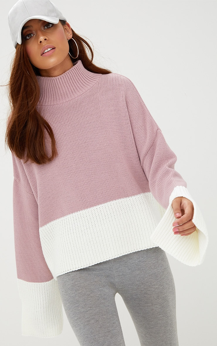 Blush Colour Block Funnel Neck Jumper 1