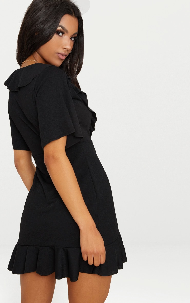 Black Frill Detail Wrap Dress 2