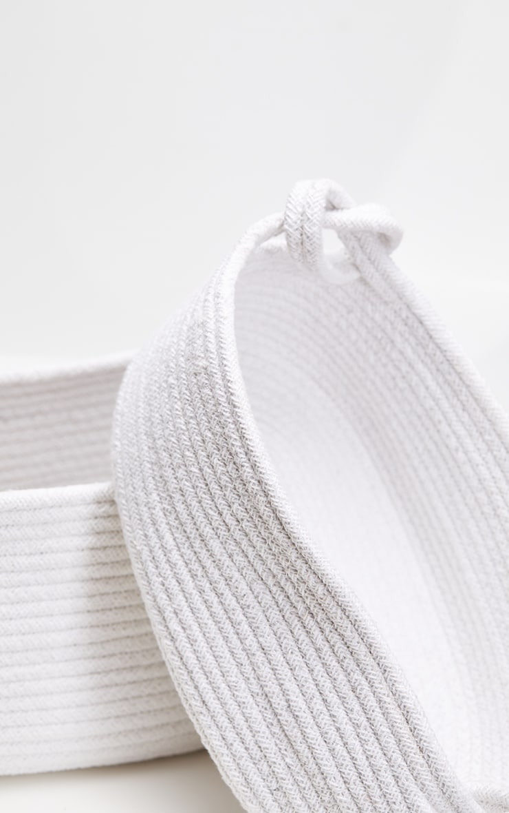 White Medium Cotton Rope Storage Basket 4