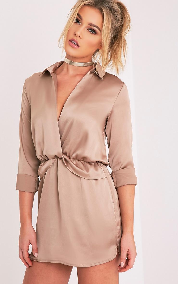 Katalea Mocha Twist Front Silky Shirt Dress 4