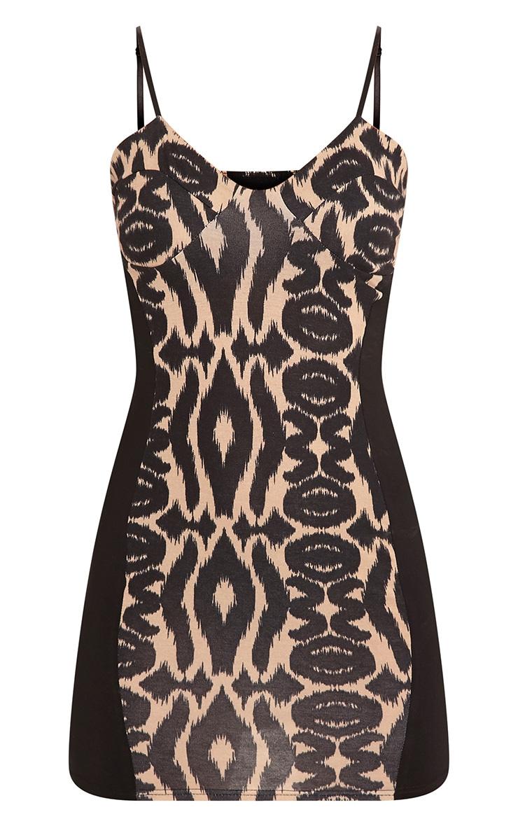 Magdelena Black Strappy Leopard Print Bodycon Dress 3