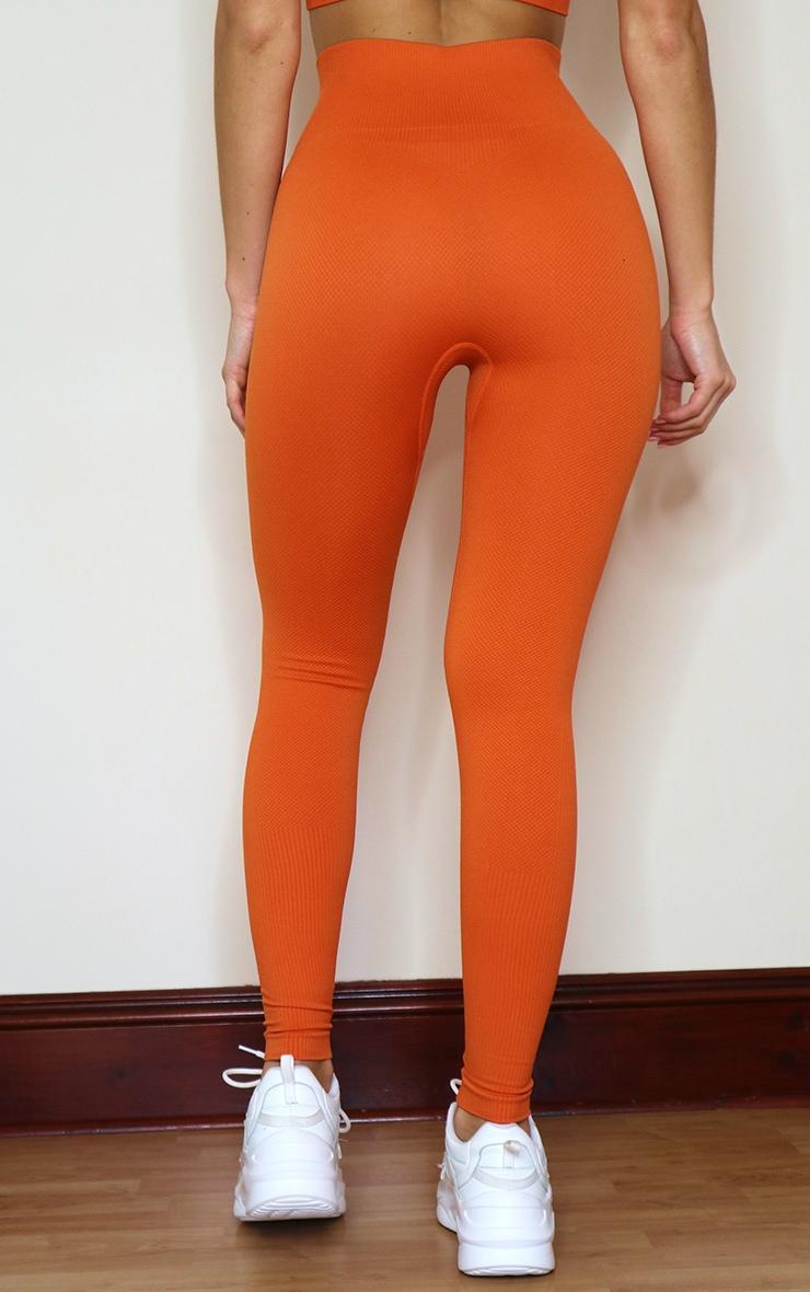 Burnt Orange Textured Seamless High Waist Gym Leggings 3