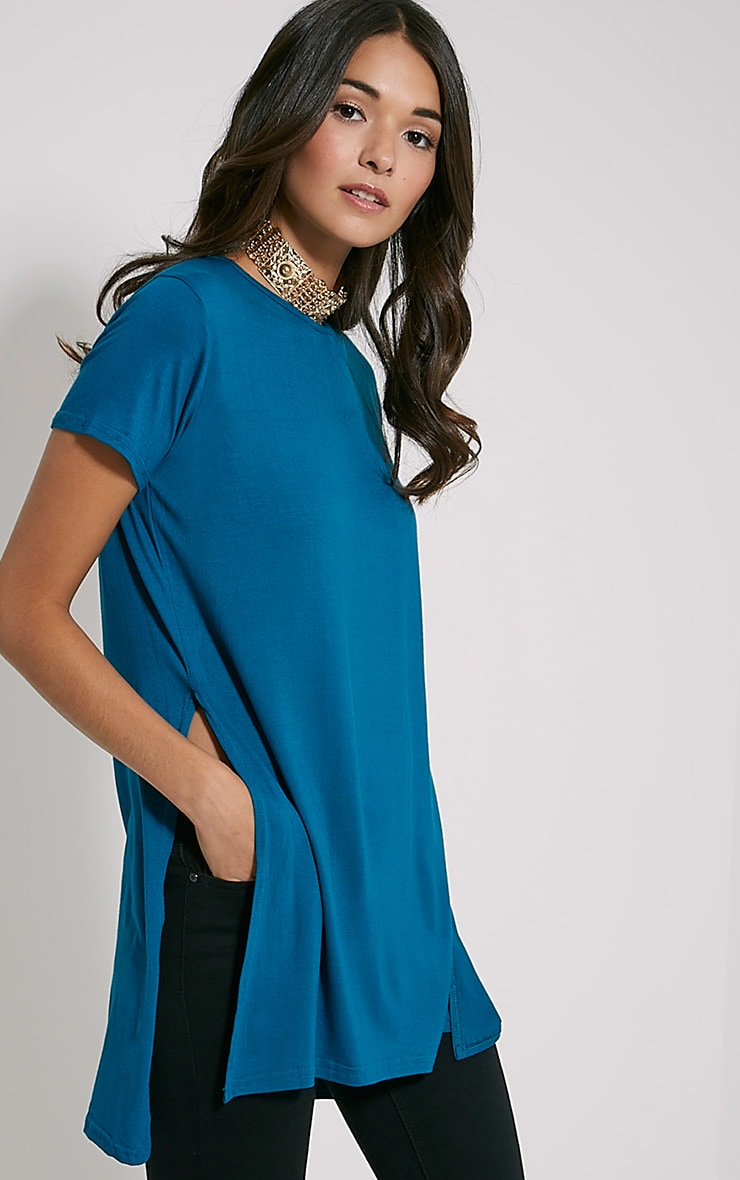 Basic Teal Side Split T-Shirt 1