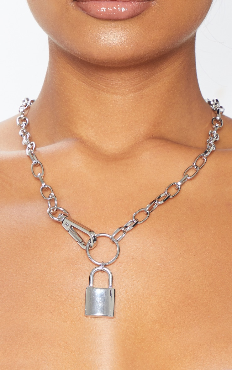 Silver Chunky Clasp And Padlock Chain Necklace 2