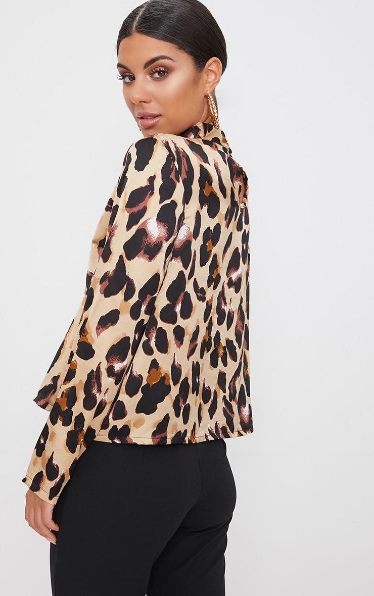 Tan Silky Leopard Print Choker Detail Blouse 2