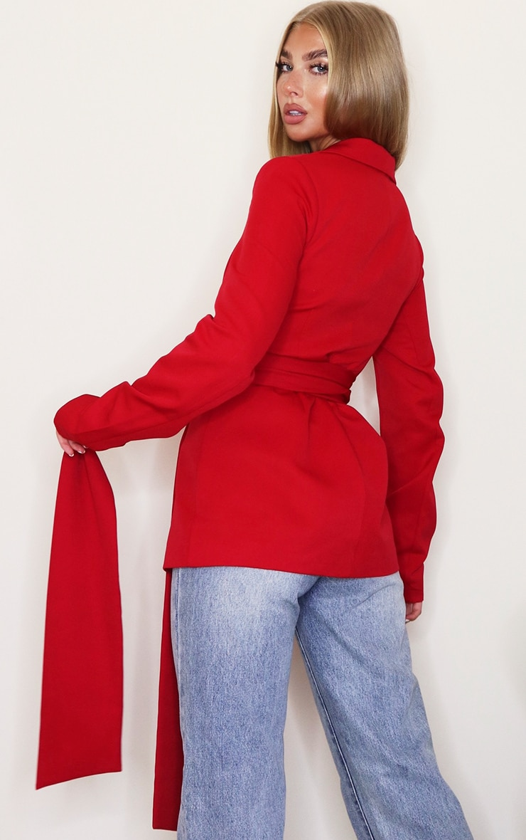 Red Woven Wrap Around Belted Fitted Blazer 2