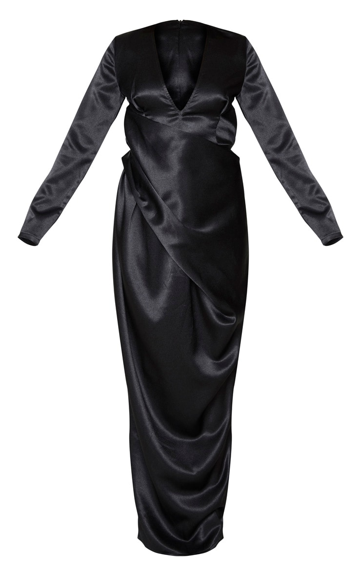 Black Satin Drape Detail Plunge Maxi Dress 5
