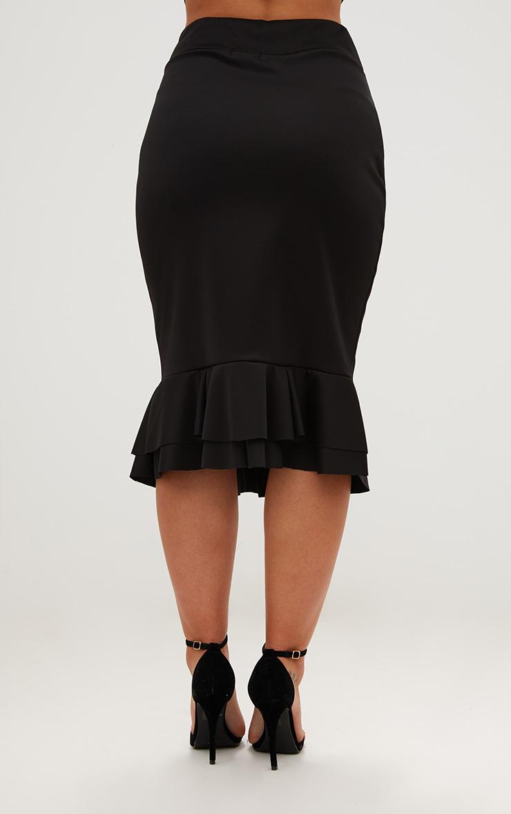 Plus Black Frill Hem Midaxi Skirt 3