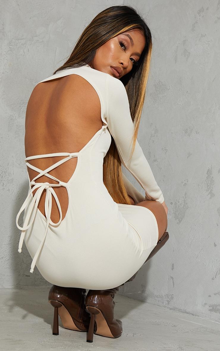 Cream Ribbed Long Sleeve Open Tie Back Bodycon Dress 1