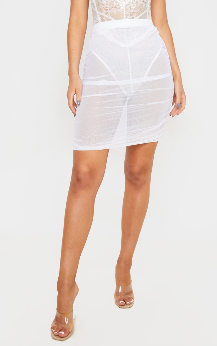 White Mesh Ruched Mini Skirt 2